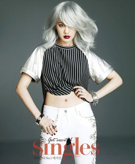Wowed by the silver hair and red lips combo! After School's Nana for 'Singles' Magazine -- Kfashion