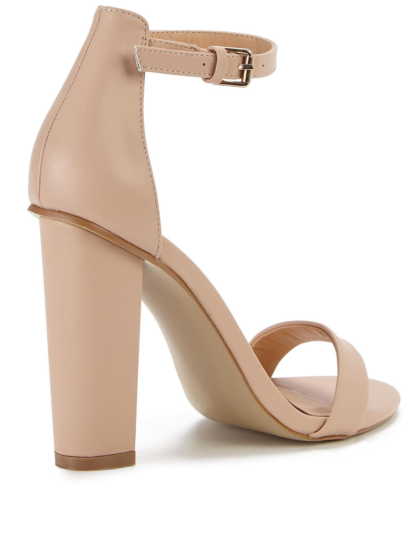 d5e24372de8 Shoe Box Daisy High Block Heeled Ankle Strap Sandals - Nude