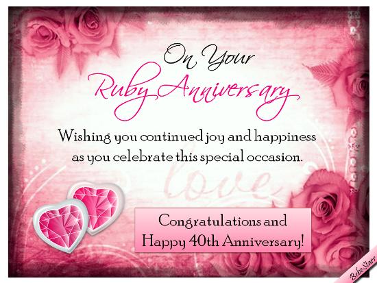 Ruby Anniversary Wishes Happy 40th Anniversary Wedding Anniversary Wishes Anniversary Wishes For Friends
