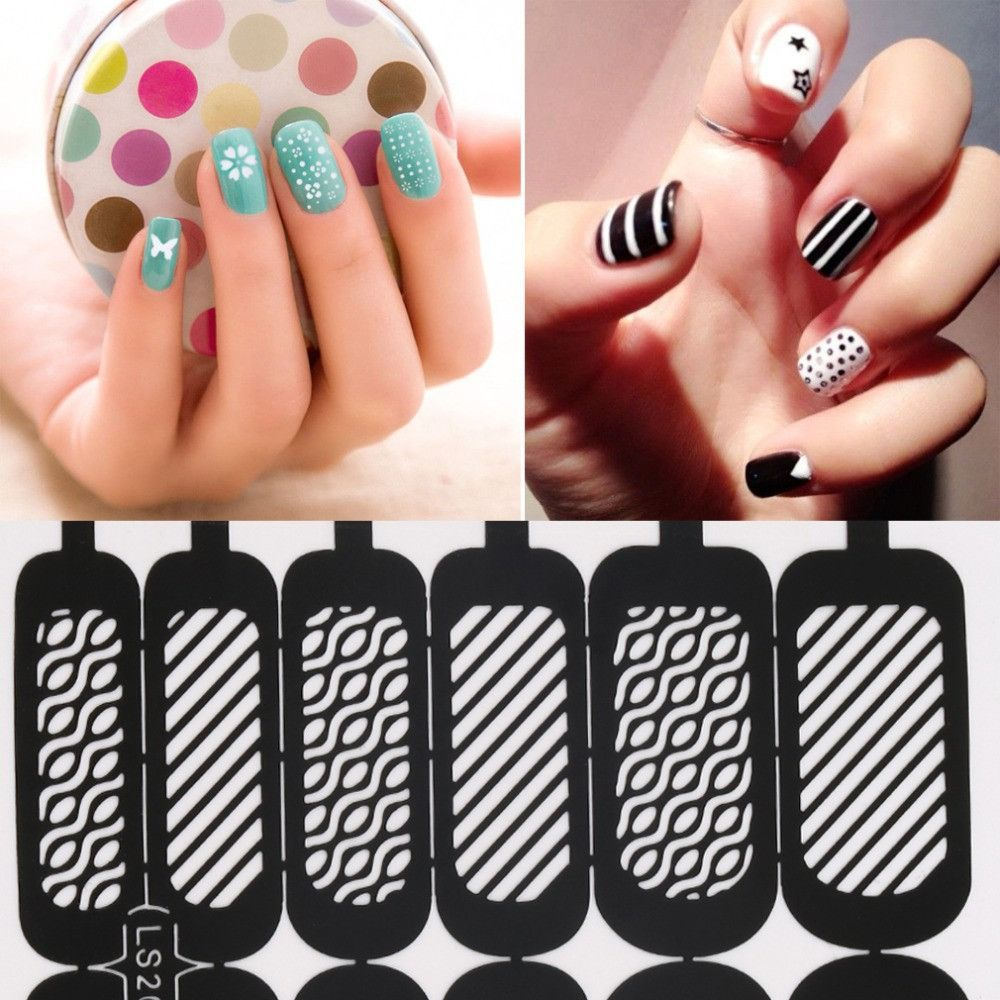 Easy reusable stamping diy nail art template stickers stencil guide