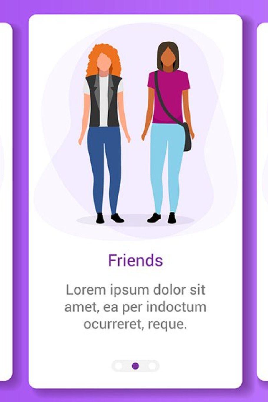 Interpersonal relationship onboarding mobile app screen