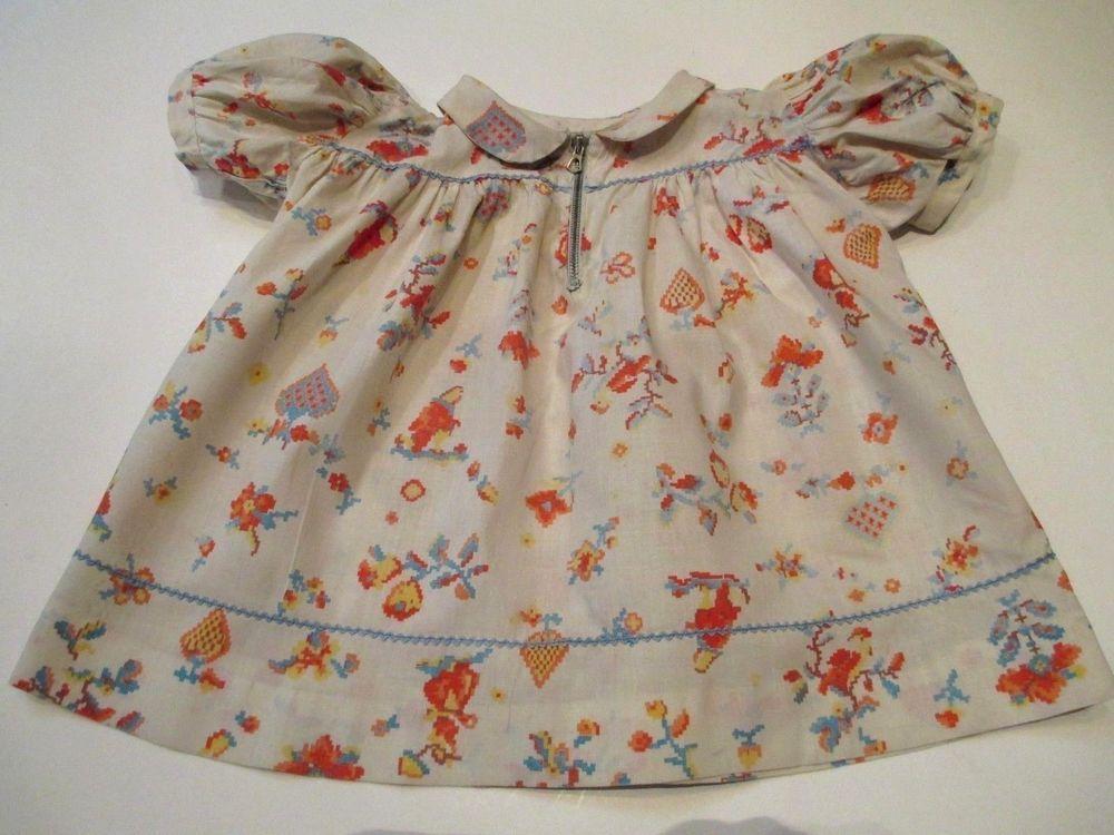 Vintage 1940s Girl Toddler Dress Print Cotton 6-9 Months #Handmade ...