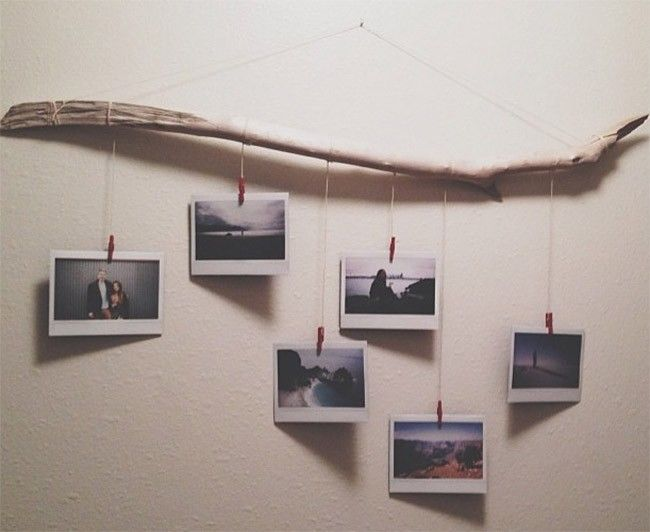Branch Photo Wall Hanging Decoration With Red Pegs Creative Polaroid Al Family Art Ideas