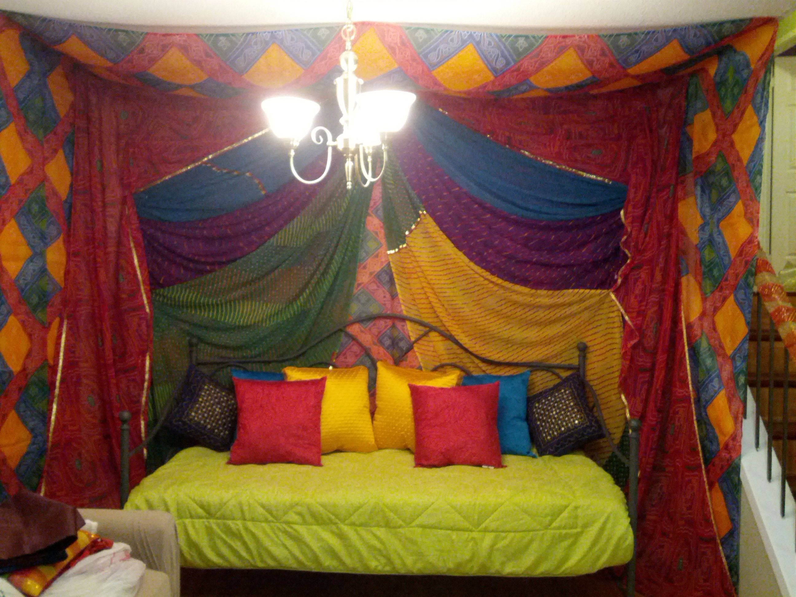 Indian wedding decor at home for a rajasthani inspired for Wedding decorations home