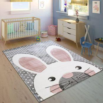 Kinderteppich Niedlicher Hase Grau Pastell Rosa Bild 1