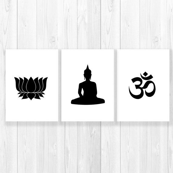 Sale yoga prints set om lotus buddha yoga studio decor yoga artwork black whiteyoga signblack white printsyoga art decorset of 3