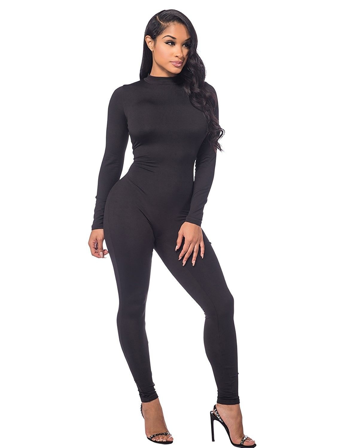 a9b95c328b280e Women's Clothing, Jumpsuits, Rompers & Overalls, Women Autumn Long Sleeve  High Neck Bodycon Tight Full Length Jumpsuits Rompers - Black - CB184HWRAQL  ...