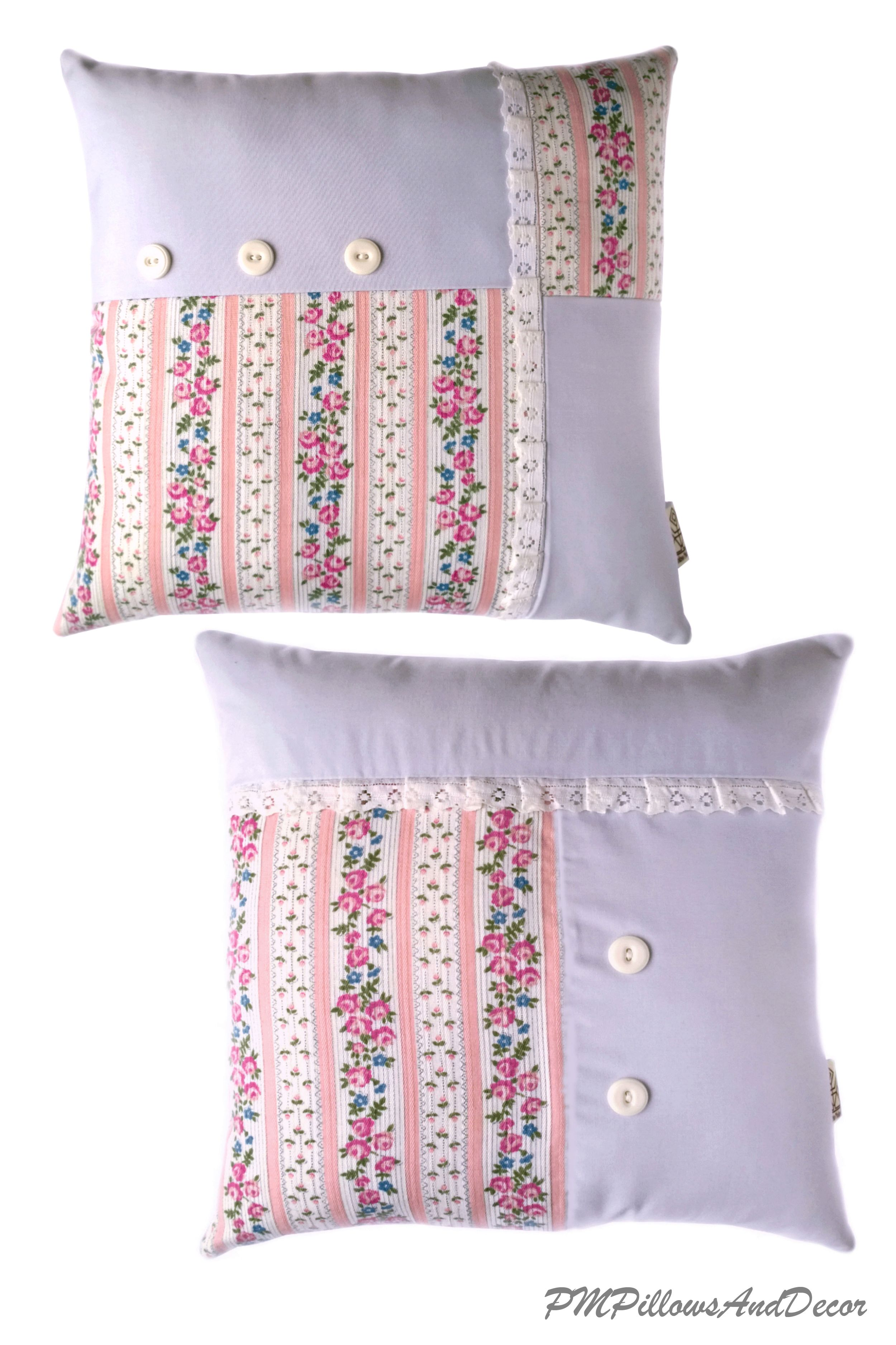 Shabby Chic Pillow Pink Roses Lilac Blue Pillow Case With Etsy Shabby Chic Cushions Shabby Chic Pillows Chic Pillows
