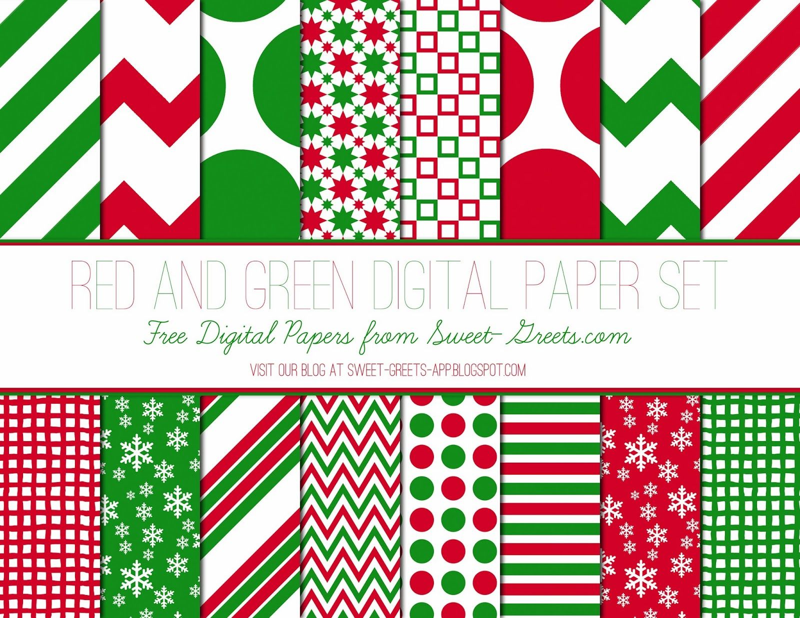 Just Peachy Designs: Free Red and Green Digital Paper Set