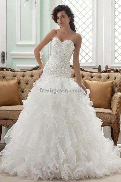 designer bridal dress 2014 spring , Amazing Ball Gown Sweetheart Chapel Train Organza and Beading Ruffles Wedding Dress WBG08688-TB, #ballgown, #chapeltrain, #weddingdress, #bridalgown, #bridaldress, #weddinggown, #wedding, #bridal, #gown, #dress