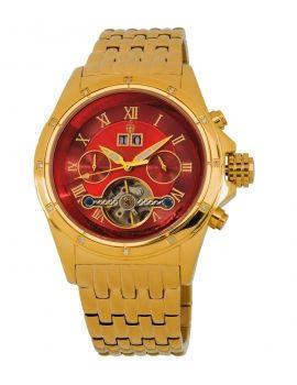 Relógio Burgmeister Dourado e Vermelho c/Diamantes