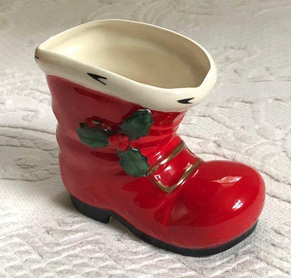 Santa Boot Planter Santa Boot Vintage Santa Boot Planter Etsy Santa Boots Christmas Centers Christmas Centerpieces