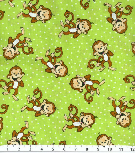 Novelty cotton fabric 43 laughing monkey green monkey for Baby monkey fabric prints