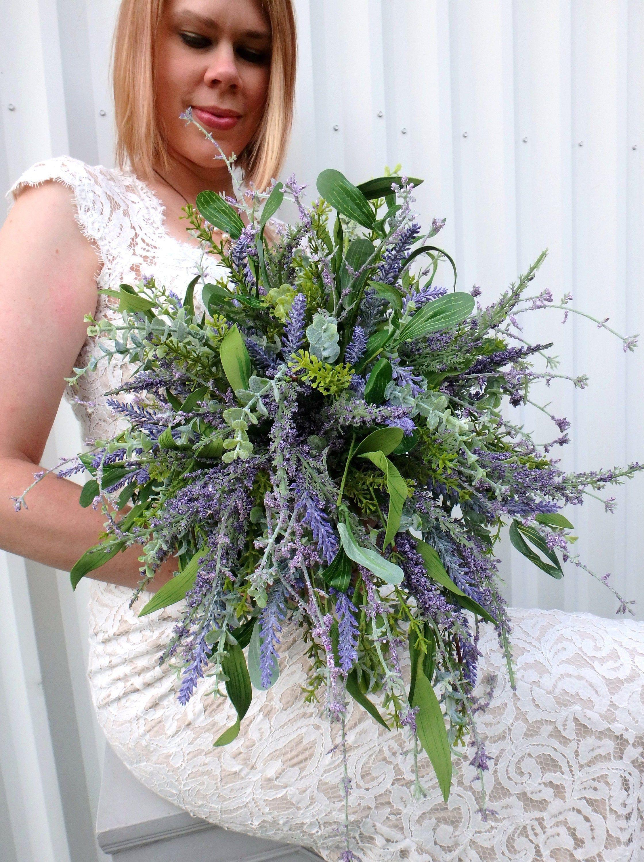 Wildflower Wedding Bouquet, Cascade Lavender lilac bridal