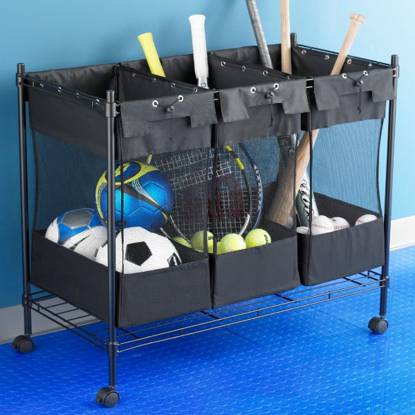 Heavy Duty Triple Storage Bin Garage Storage Solutions Sports Equipment Storage Storage Bins