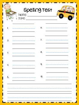 free printable spelling test template - seasonal spelling test templates school language arts
