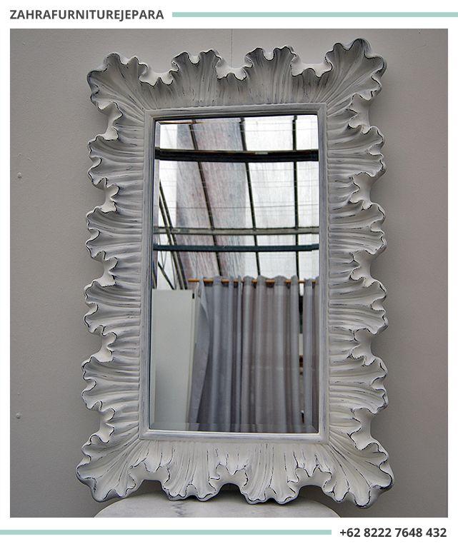 Cermin Ukir Jepara Cat Duco Putih Cermin Cermin Dinding