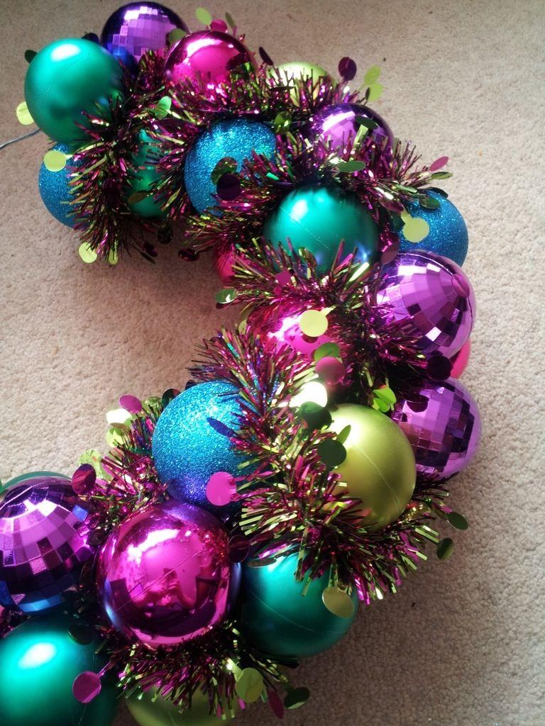 Homemade bauble wreath