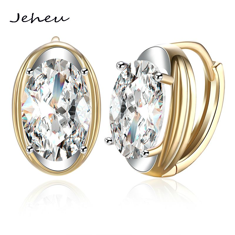 Fashion Jewelry Gold Color Clip Earrings For Women White Oval Rhinestone Earings