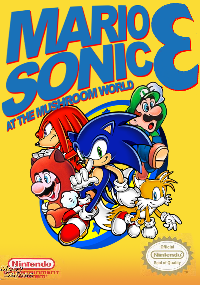 Mario Sonic At The Mushroom World Nes Cover By Fuzi666 Deviantart Com Sonic Cover Retro Gaming