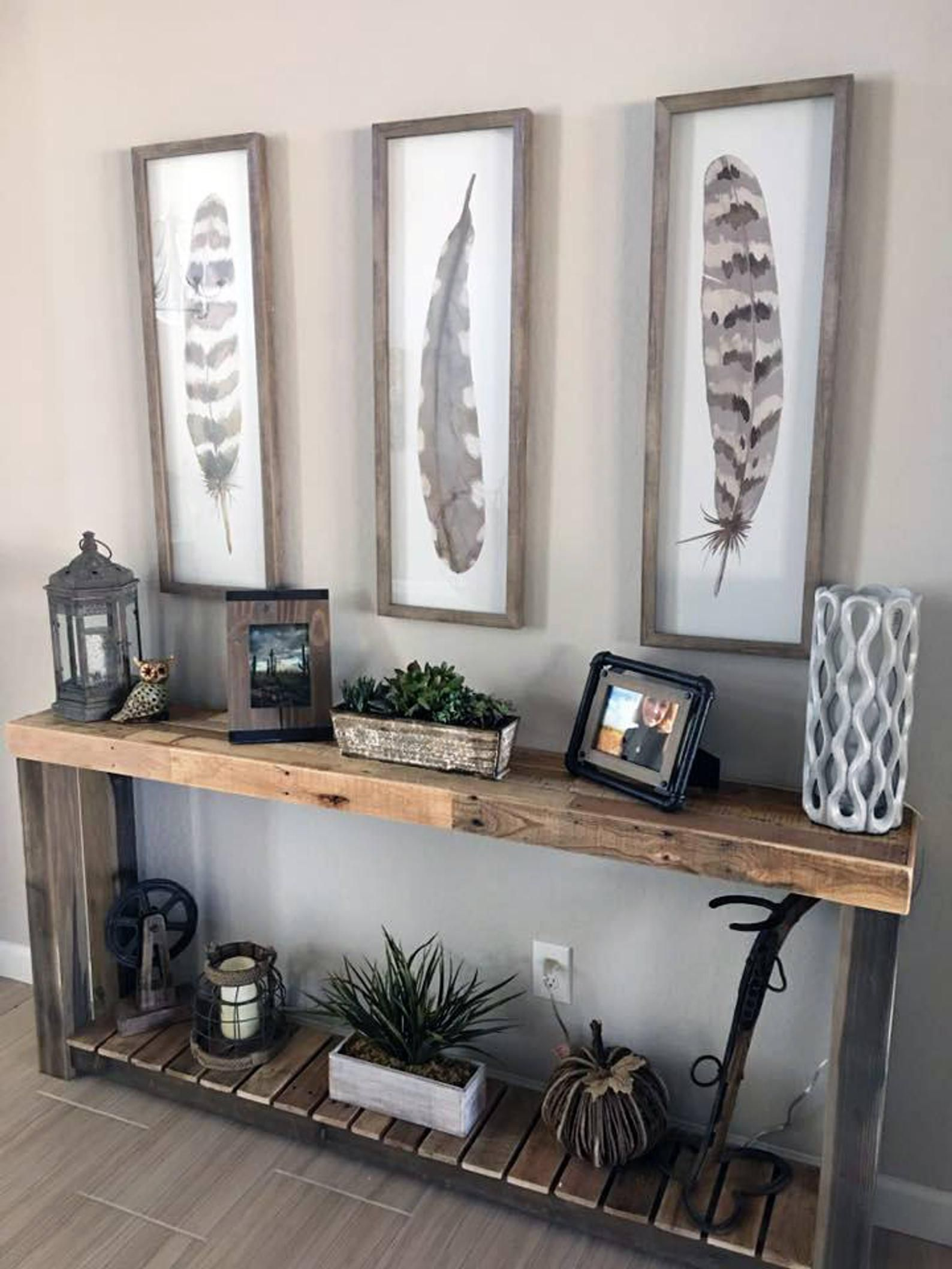 Reclaimed Wood Console Table Accent Sofa Entryway Entry ...