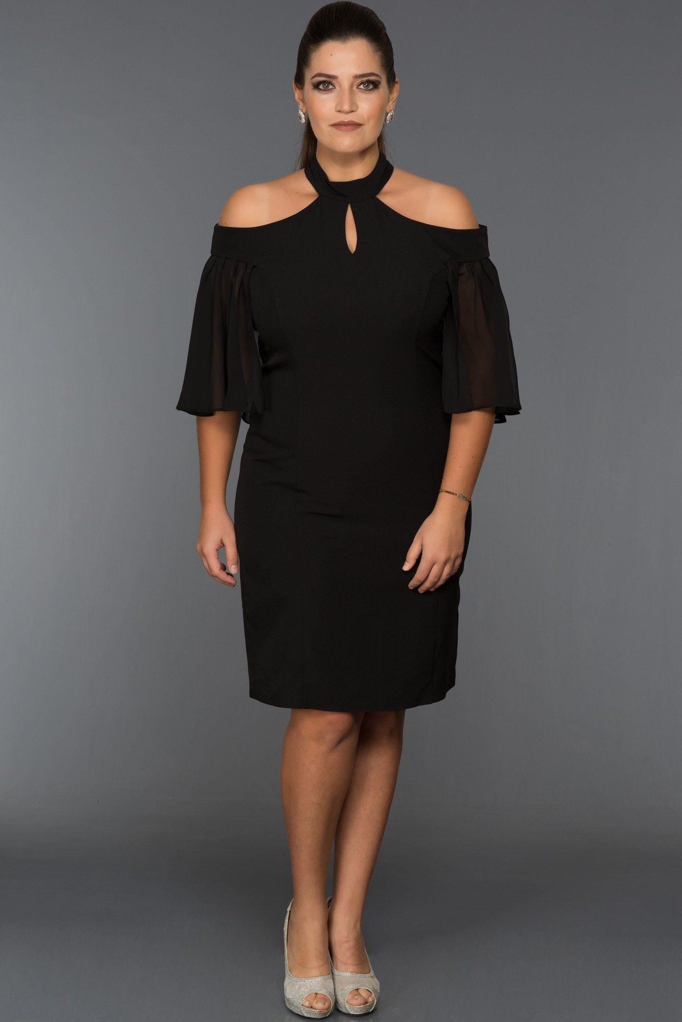 Siyah Omuz Dekolteli Buyuk Beden Elbise Abk059 Elbise The Dress Giyim