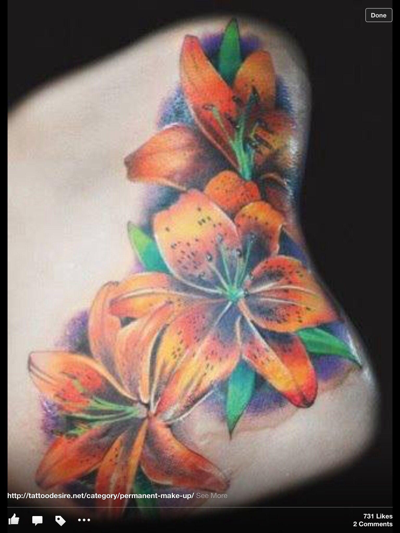Tropical flowers Tiger lily tattoos, Lillies tattoo, Tattoos