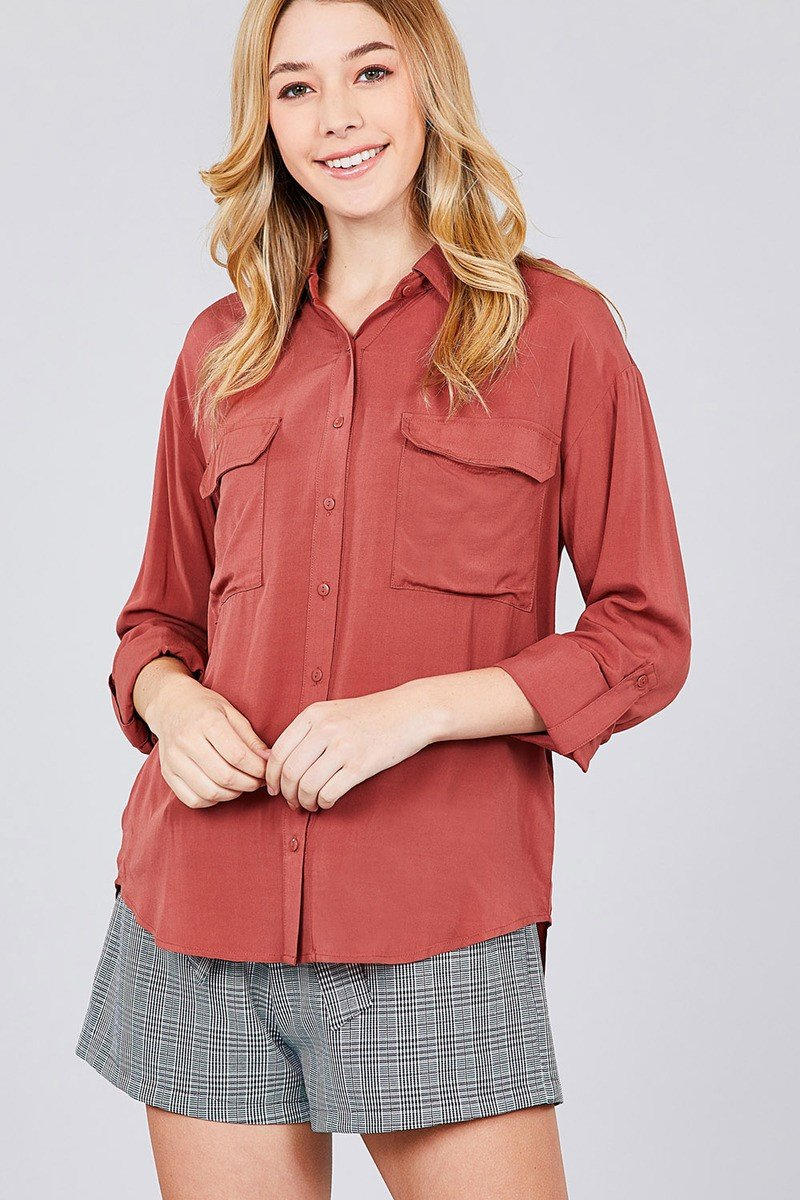 34 roll up sleeve chest flap pocket woven shirts cute