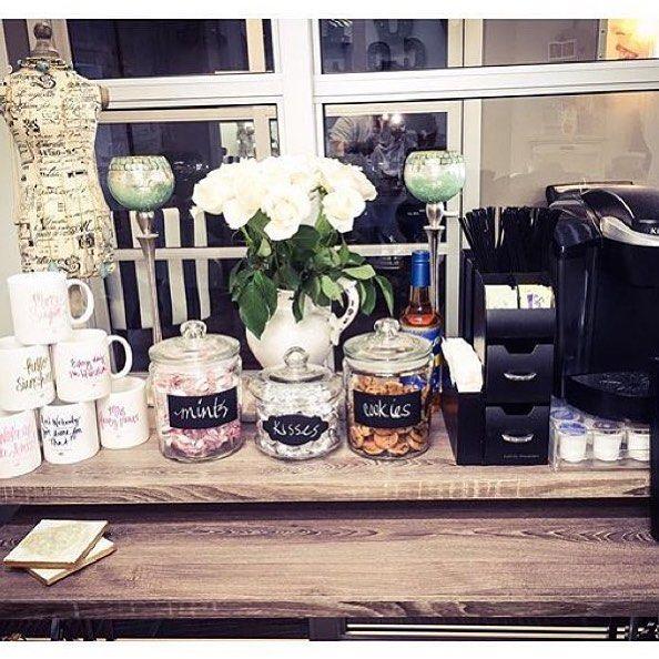 Awesome coffee bar by tiffani 39 s mirror salon salon decor salons nail salon decor salon design - Bar salon design ...