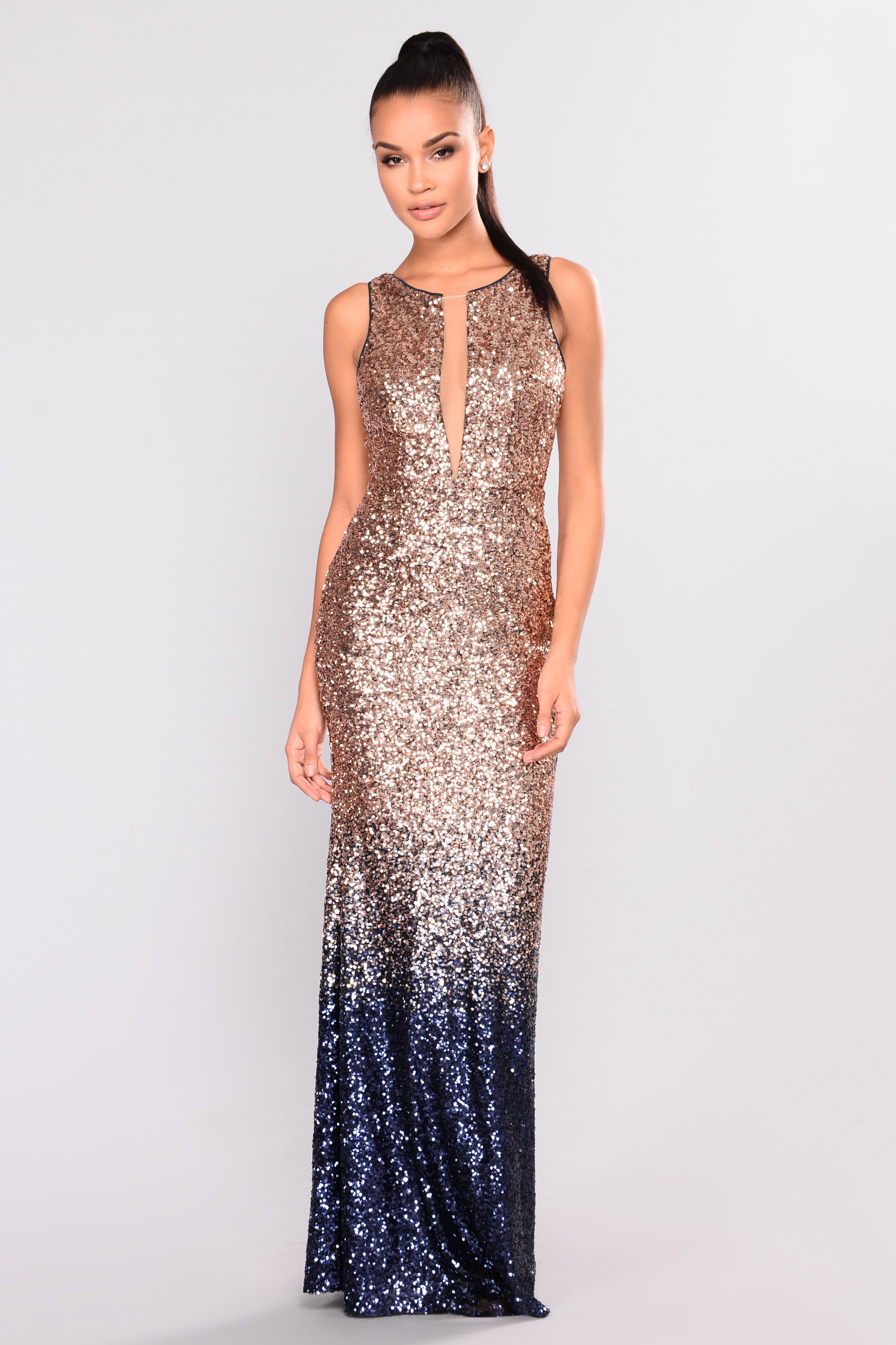 Stars are bright sequin dress rose goldnavy products