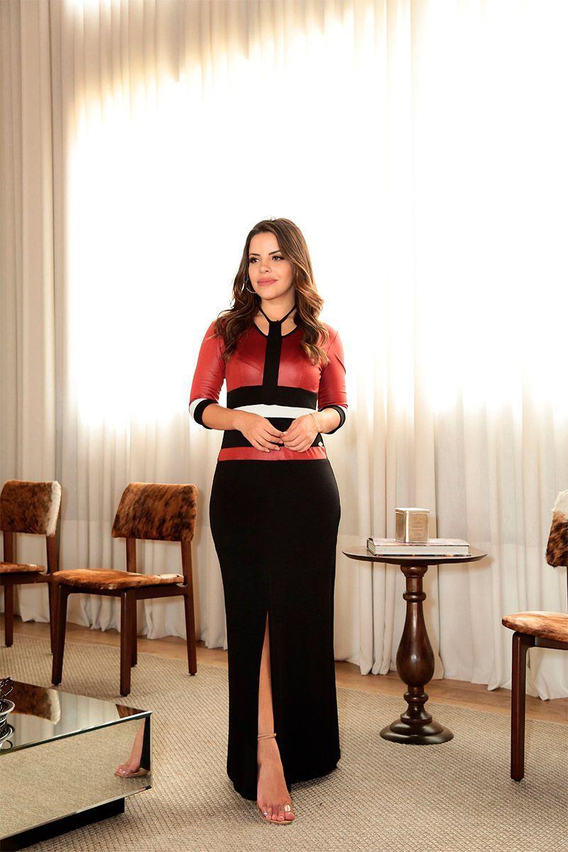 d1dc02443 Vestido Longo em Malha com Forro Luciana Pais 92430 em 2019 | Moda  Evangélica | Pants e Style