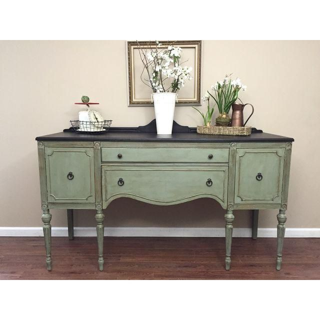 Image Of Antique Federal Style Sideboard Buffet Green