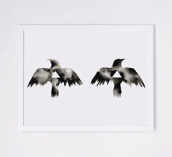 Minimalist Raven Tattoo: Modern Bird Print Geometric Art Print Modern By