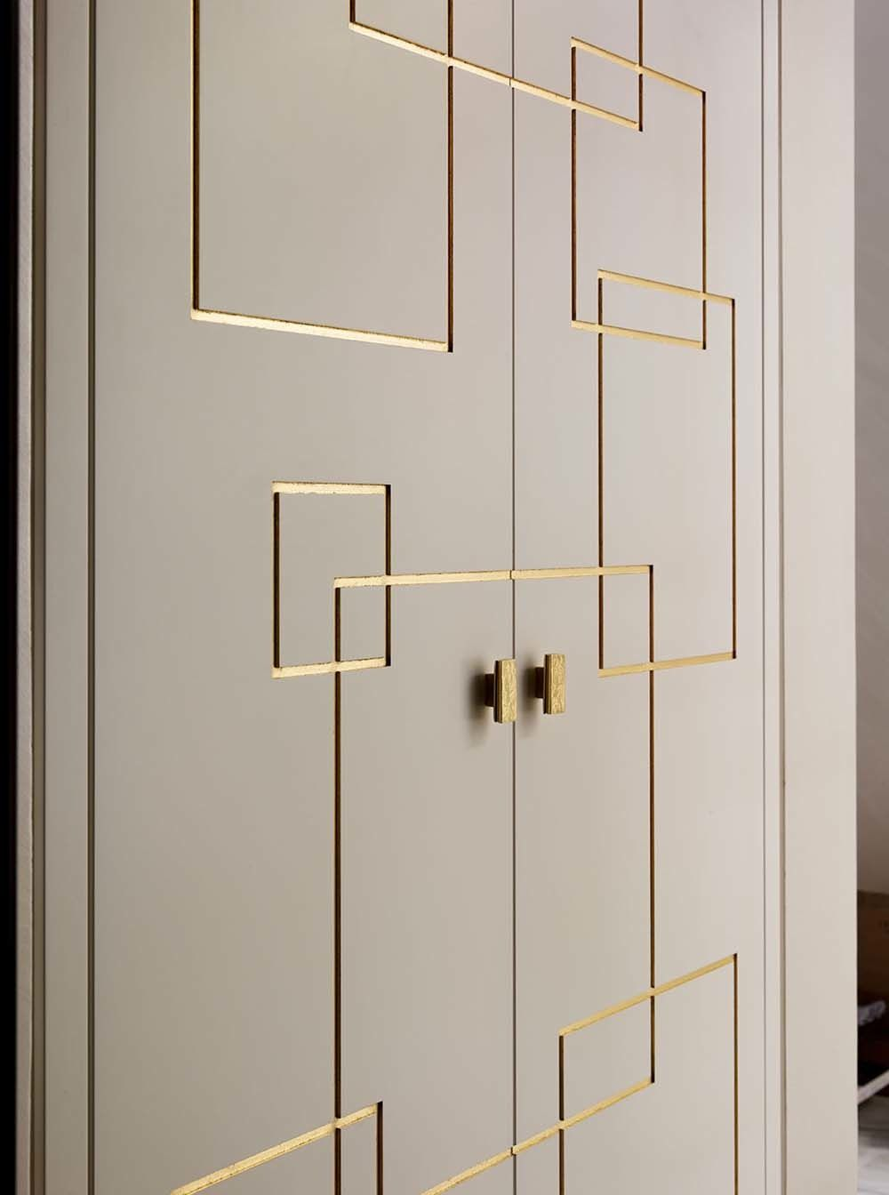 Gold molding doors and brass square knobs