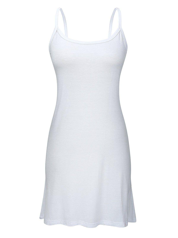 Womens Plain Long Basic Camisole Cami Cotton Tank Top w/Adjustable  Spaghetti Straps - Pure White - CN186S49CS6   Clothes for women, Clothes,  Women
