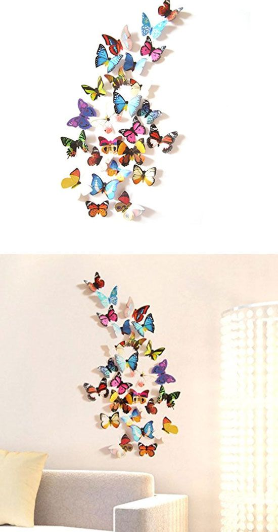 Colorful Butterfly Wall Stickers | Easy Wall Art Ideas For Living Room | Inexpensive  Wall Decorating