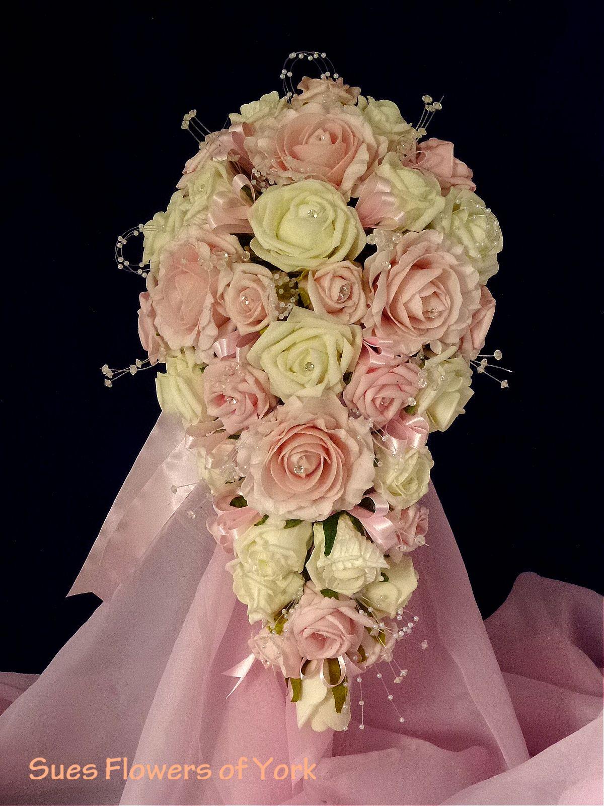 unique bouquets wedding flowers brides teardrop bouquet pink and ivory foam roses foam. Black Bedroom Furniture Sets. Home Design Ideas