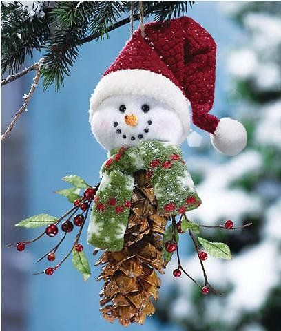 image detail for pinecone snowman christmas holiday decoration traditional - Snowman Christmas Decorations