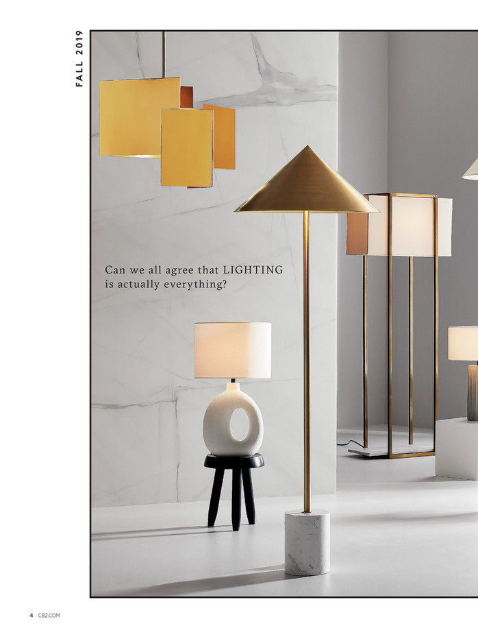 CB2 July Catalog 2019 Page 4 5 in 2020   Cone floor lamp