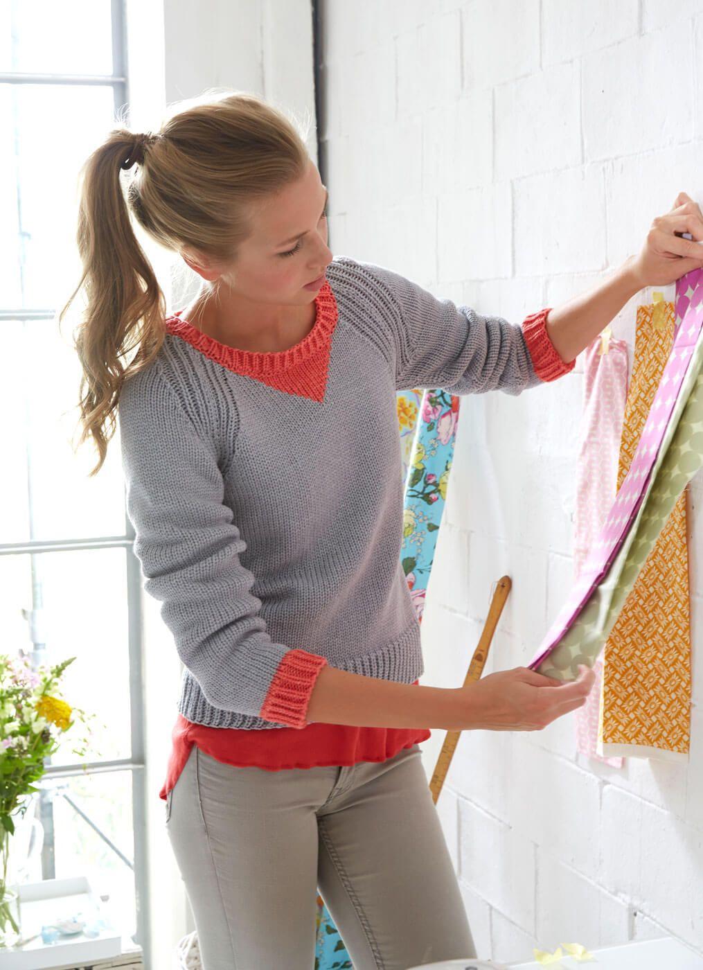 Pullover glatt gestrickt mit Rippenmuster - kostenlose ...