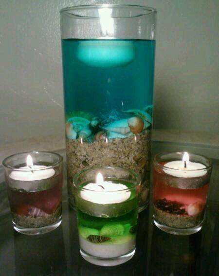 Beach wedding centerpiece glass vase tealight candle