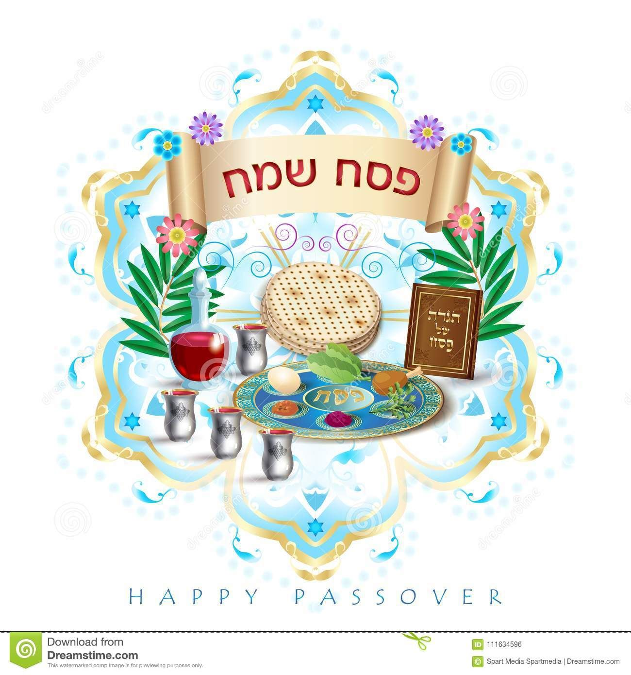 2018 Happy Passover Hebrew Lettering Jewish Holiday Symbols Icons