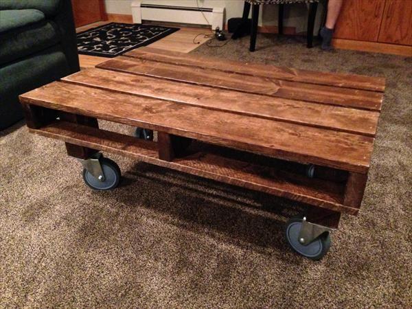 DIY Repurposed Pallet Table With Wheels Pallet Furniture Plans