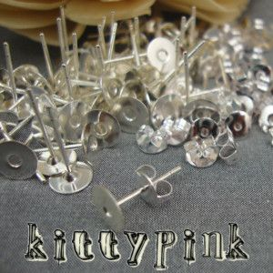 6mm Earring Stud Post with Flat Pad Silver Plated with Scroll Backs x 50