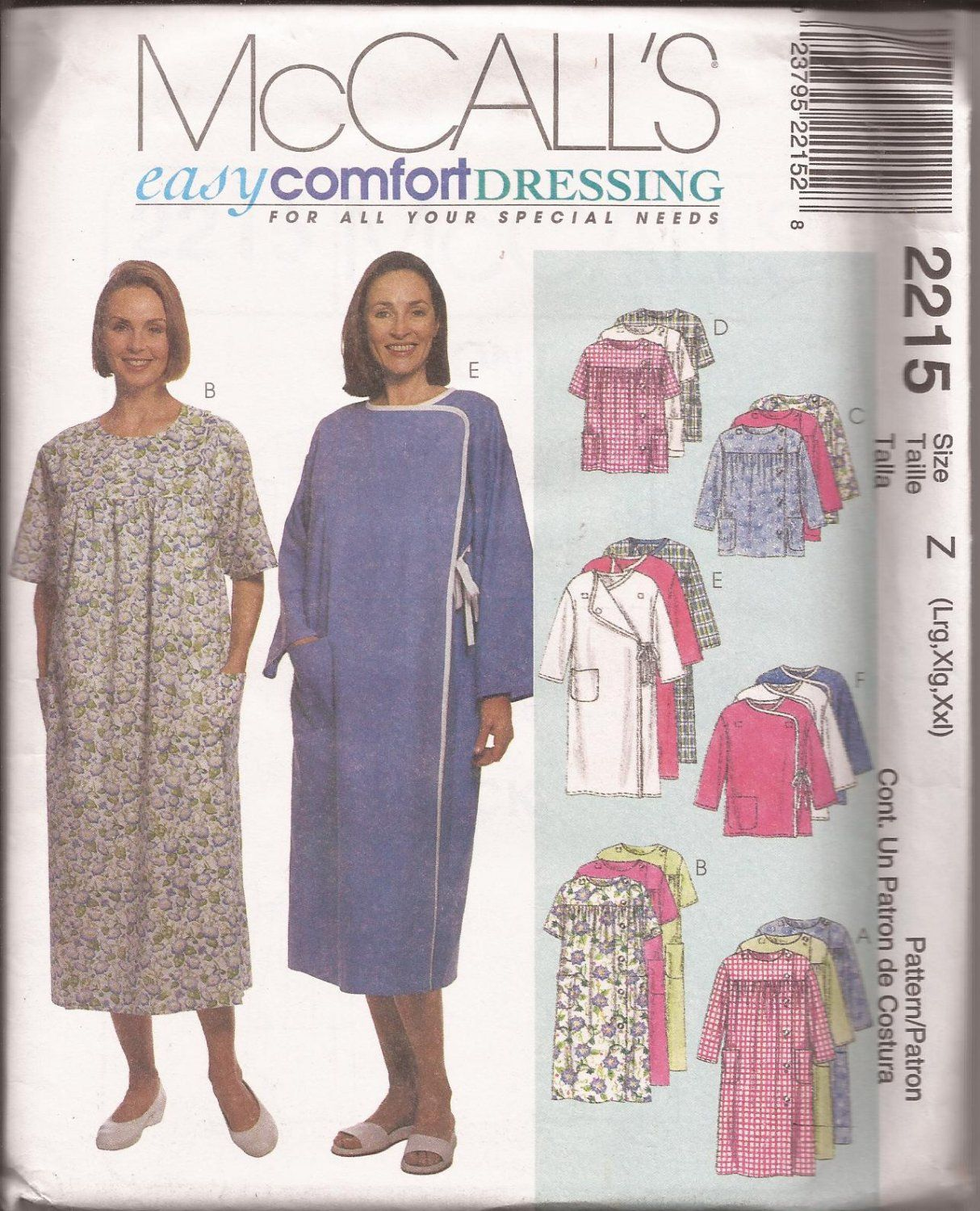 McCalls 2215 (1999) Hospital Special Needs Dress Top Wrap Gown ...