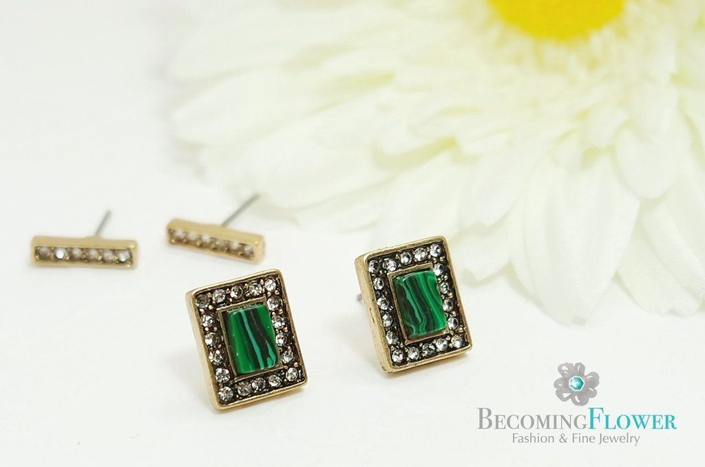 Tuned (Set of 2 studs) We have beautiful collections of jewelry including luscious colored, vintage inspired studs.  Please visit our Vancouver online jewelry shop www.becomingflower.com
