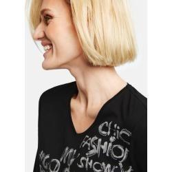 Statement-Shirts für Damen –  3/4 Arm Shirt mit Frontdruck Bio Baumwolle Schwar…