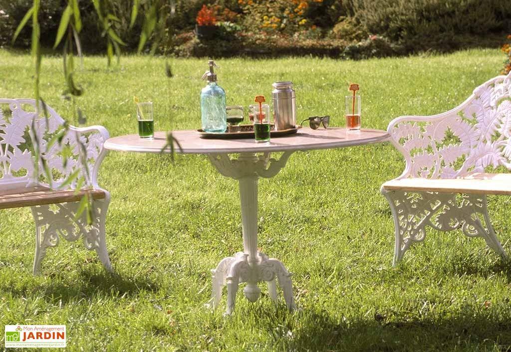 Table de Jardin Fonte d\'Aluminium et Bois Fougère | Table de ...