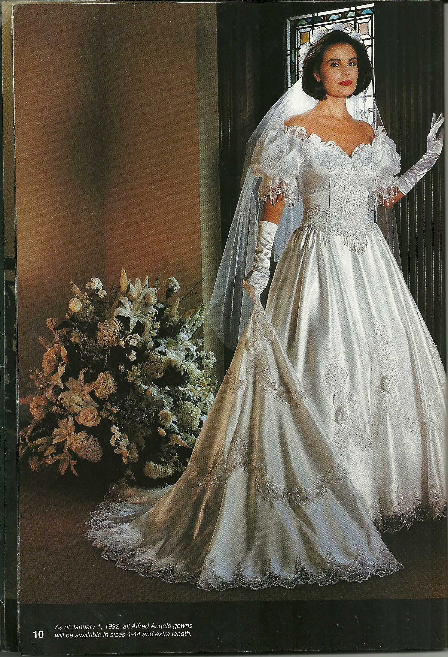 Alfred Angelo Dream Maker Spring Of 1992 Ugly Wedding Dress With Veil