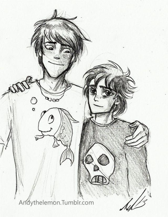 Percy Jackson and Nico Di Angelo... Percy's like his big